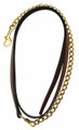 """HDR Pro Collection Leather Lead with 24"""" Solid Brass Chain - oak bark"""