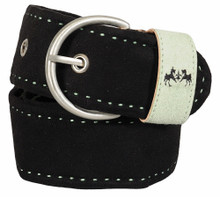 Equine Couture Dillon Suede Belt - black w/jade
