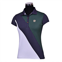Equine Couture Ladies Pro Sport Short Sleeve Polo - duck green/graphite/white