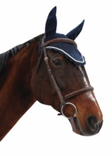 Equine Couture Fly Bonnet With Silver Rope - navy