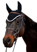 Equine Couture Fly Bonnet With Silver Rope & Crystals - black