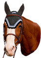 Equine Couture Fly Bonnet with Silver Lurex & Contrast Color - dark charcoal w/black