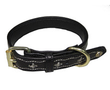 Halo Fleur De Lis Leather Dog Collar