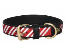 Halo Candy Cane Leather Dog Collar