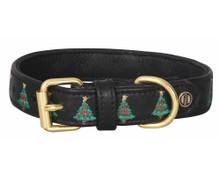 Halo Christmas Tree Leather Dog Collar