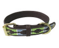 Halo Cal Leather Dog Collar - cashmere blue/lime green