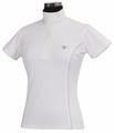 TuffRider Kirby Kwik Dry Short Sleeve Show Shirt - white w/glacier blue