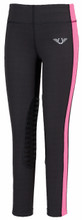 TuffRider Children's Ventilated Schooling Tights - charcoal w/neon pink