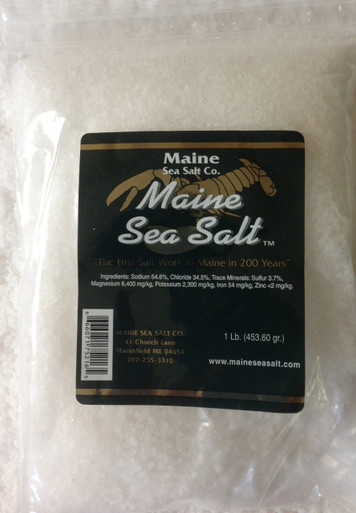 Natural Maine Sea Salt Bag 1 lb size, Coarse Gourmet salt, solar evaporated, and no anti caking agents added. Use by the pinch.