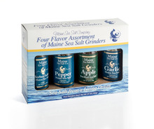 They are easy to grind and refillable too. The gift that will be appreciated, Maine Sea Salt grinder sampler of four 3.6 oz each. Set contains our popular flavors, Natural Maine Sea Salt, Garlic Sea Salt, Salt & Pepper and Herbes Sal'ees. Naturally we do not add additives, and Maine Sea Salt has the trace minerals you expect from sea salt. Our Garlic Salt is made with dried Garlic using a special recipe, and is specially strong.The Herbes Sal'ees is a mixture of five Herbs, Maine Sea Salt, Thyme, Sage, Marjoram, and Lavender. The recipe, is inspired by Sharon Cook's heritage, coming from the St. Johns Valley, Aroostook county Maine, where the early French settled. So Herbes Sa'lees has old roots. The Pepper and Maine Sea Salt is my favorite, you will love it like I do. The Apple Smoked Maine Sea Salt, is perfect for your favorite rub recipes or any time you desire a smoky taste!