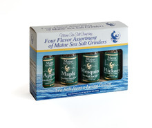 Smoked Maine Sea Salt Set of 4 Grinders 3.6 oz...Apple, Hickory, Maple, Mesquite Smoked Maine Sea Salt.