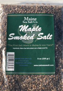 Maple Smoked Maine Sea Salt, 8 oz bag, 6 to a case.