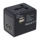 Lewis N Clark Adapter with Dual USB - Black