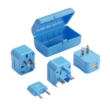 Lewis N Clark Adapter Plug Kit with Dual USB - Blue