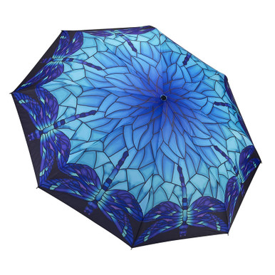 """Galleria Folding 48"""" Umbrella - Stained Glass Dragonfly"""