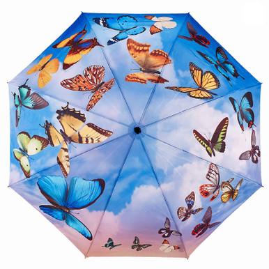 """Galleria Folding 48"""" Umbrella - Swirling Butterflies"""