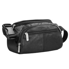 Travelon RFID-Blocking Leather Waist Pack - Black