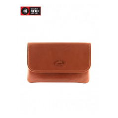 Mancini Manchester - Coin Purse with Key Chain (RFID) - Cognac