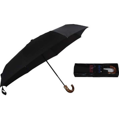 "Galleria Folding 46"" Men's 3-Section Auto Open/Close Umbrella - Black"