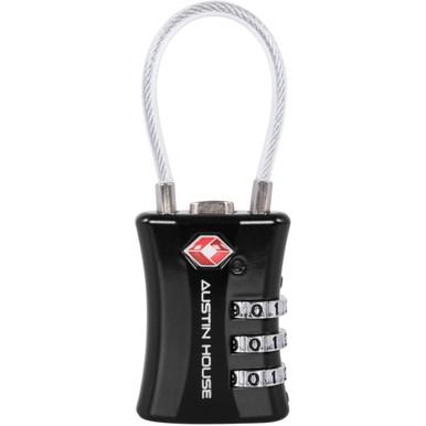 Austin House TSA 3-Dial Combination Cable Padlock - Black