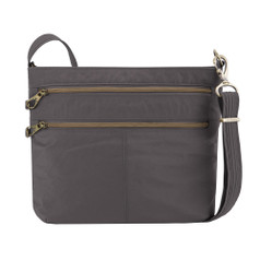 Travelon Anti-Theft Signature Double Zip Crossbody - Smoke