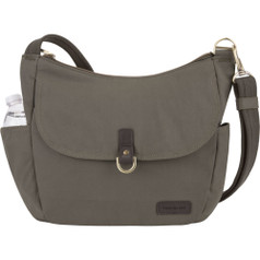 Travelon Anti-Theft Courier Bucket Hobo - Stone Gray