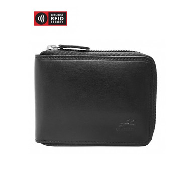 Mancini Boulder Men's Zippered Wallet With Removable Passcase (RFID) - Black