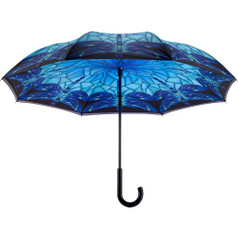 "Galleria 48"" Reverse Stick Umbrella, Stained Glass Dragonfly"