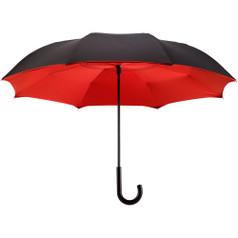"""Galleria 48"""" Reverse Stick Umbrella, Black/Red"""