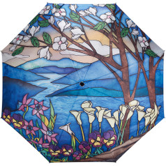 "Galleria Folding 48"" Umbrella, Stained Glass Landscape"