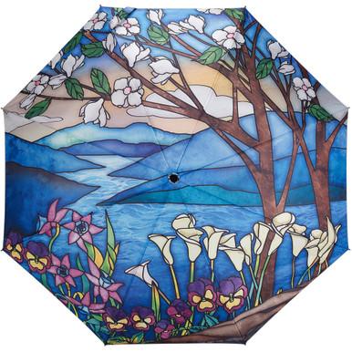 "Galleria Folding 48"" Umbrella, Stained Glass Landscape"