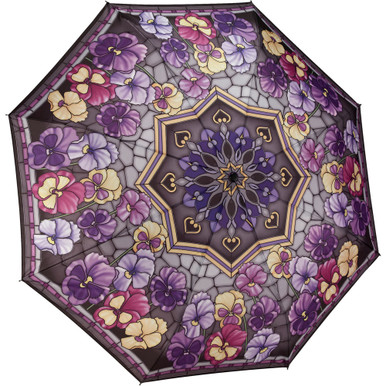 "Galleria Folding 48"" Umbrella, Stained Glass Pansies"