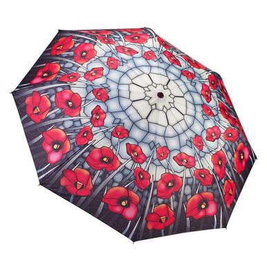 """Galleria Folding 48"""" Umbrella, Stained Glass Poppies"""