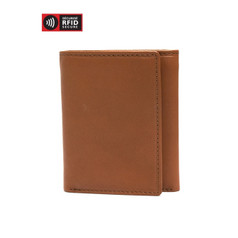 Mancini Colombian Men's RFID Secure Trifold Wing Wallet - Tall - Cognac