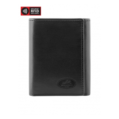 Mancini Manchester Men's Trifold Wing Wallet (RFID) - Black