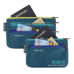 Travelon World Travel Essentials Set of 2 Passport Organizers - Peacock Teal