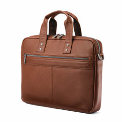 Samsonite Classic Leather Slim Brief - Cognac