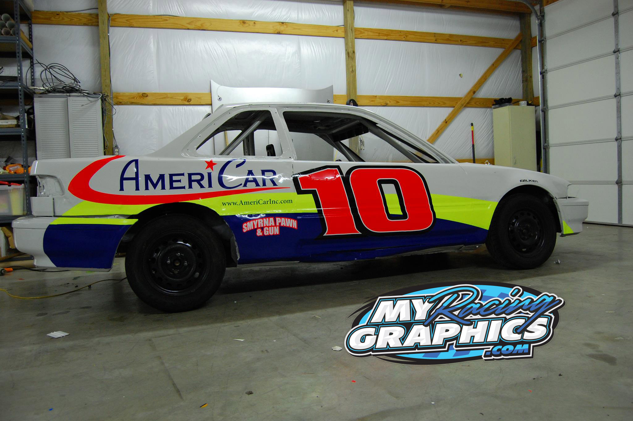 Mini stock FWD racing graphics and lettering