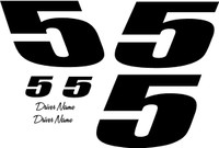 1 color 1 digit race car number vinyl decal kit for race car