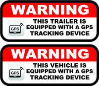 Warning this vehicle is equipped with a gps tracking device decal or sticker.