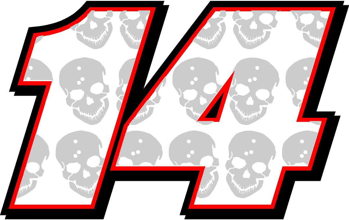 Full Color Numbers Vinyl Skull Decal Kit With Drivers Name