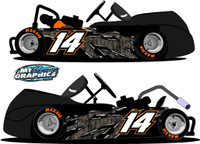 Camo Rip Racing Go Kart side wrap decals