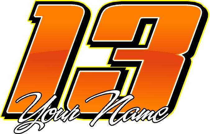 "6"" Racing Team Number Decals Package of 12 
