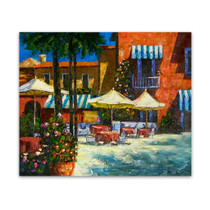 Mediterranean Café | Orange Canvas Wall Art Paintings for Sale
