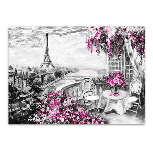 Balcony View of Paris in Wall Art Print