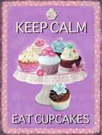 Keep Calm & Eat Cupcakes metal sign large