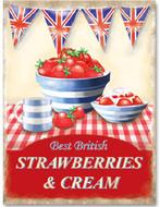 "Metal Sign - Strawberries & Cream 12 x16"""