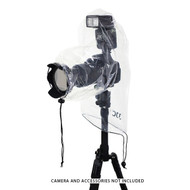 JJC Camera Rain Cover for Small DSLRs and Mirrorless with Shoe Mounted Flash (Transparent)