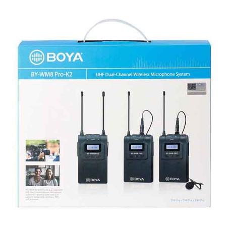 BOYA BY-WM8 Pro-K2 UHF Dual-Channel Wireless Microphone System Kit (Lavalier , 100m)