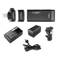 Godox AD200Pro 200Ws Witstro TTL Pocket Flash Kit (5600K , 2.4G wireless X system, Bare Bulb & Speedlite)